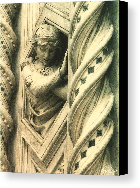 This Angel Graces The Outer Wall Of Basilica Di Santa Maria Del Fiore In Florence Italy. Canvas Print featuring the photograph Angel Of The Basilica by Diana Haronis