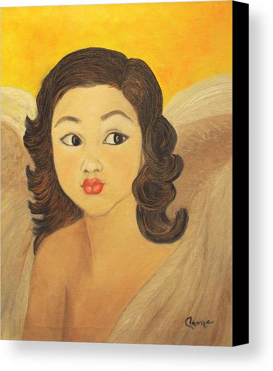 Angel Canvas Print featuring the painting Angelito Travieso by Veronica Zimmerman