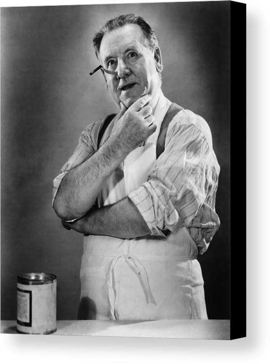 50-54 Years Canvas Print featuring the photograph Carpenter Posing In Studio, (b&w) by George Marks