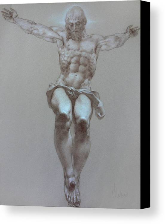 Symbolism Canvas Print featuring the drawing Crucifixion by Valeriy Mavlo