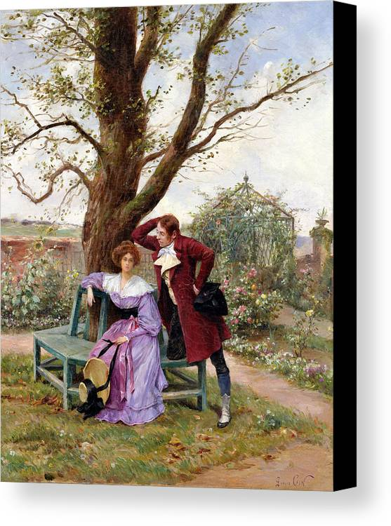 Courting; Garden Scene; Courtship; Love; Conversation; Gazebo; Victorian Canvas Print featuring the painting Flirtation by Georges Jules Auguste Cain