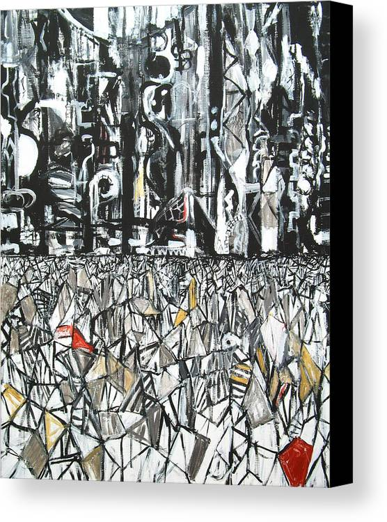 Abstract Cityscape Canvas Print featuring the painting Fragmentary Metropolis Tokyo by Kazuya Akimoto