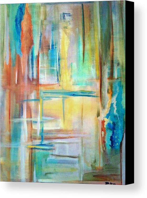 Acrylics Canvas Print featuring the painting From Dusk To Dawn by Derya Aktas