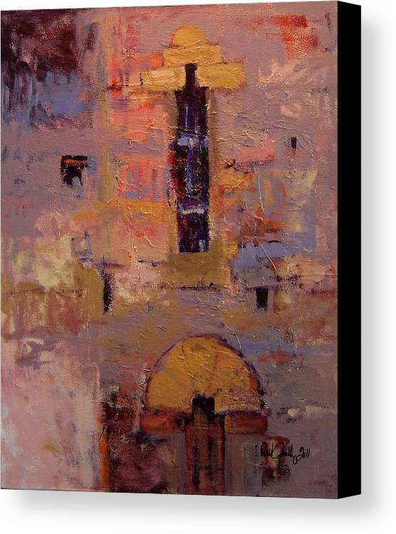Italy Canvas Print featuring the painting Front Door At Volterra by R W Goetting