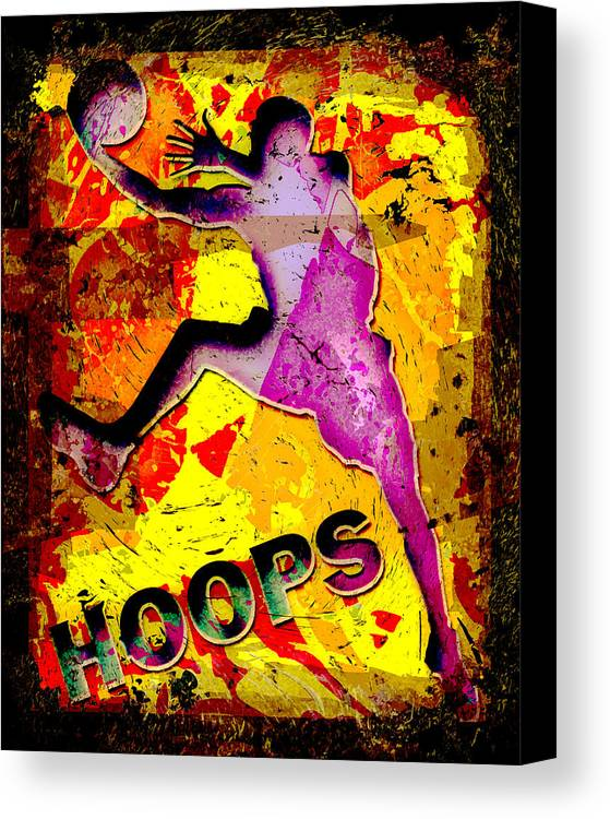 Hoops Canvas Print featuring the photograph Hoops Basketball Player Abstract by David G Paul