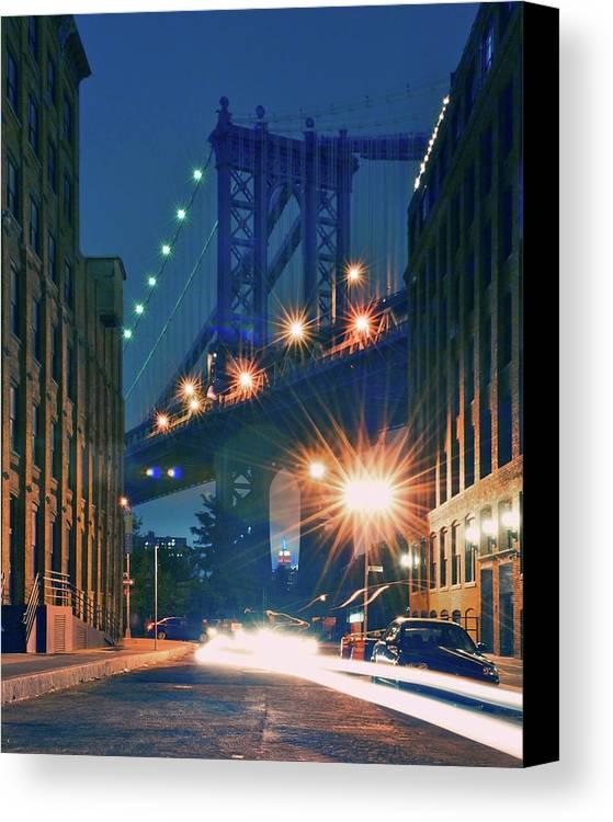 Vertical Canvas Print featuring the photograph Manhattan Bridge by Thomas Kurmeier