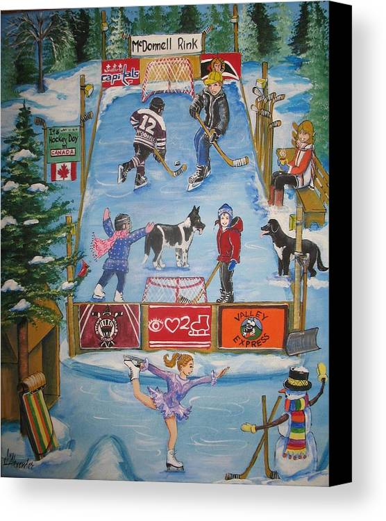 Canvas Print featuring the painting Mcdonnell Rink by Jill Alexander