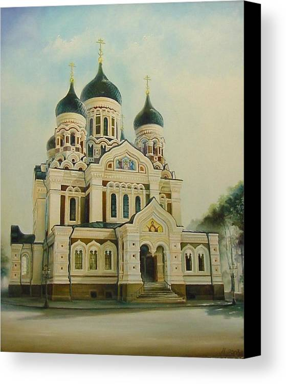 Citiscapes Canvas Print featuring the painting Nevsky Catedral by Ahto Laadoga