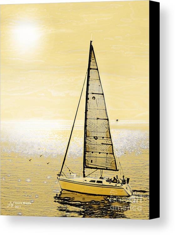 Sailing Canvas Print featuring the painting New Dawn by Artist and Photographer Laura Wrede