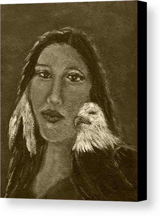 Native American Canvas Print featuring the painting Onawa Native American Woman Of Wisdom With Eagle In Sepia by The Art With A Heart By Charlotte Phillips