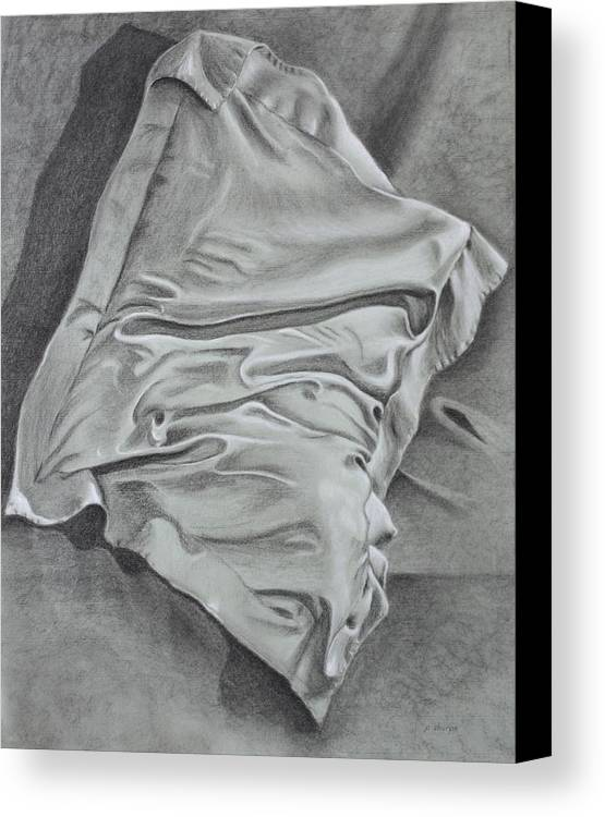 Pillow Still Life In Human Pose Canvas Print featuring the drawing Pillow Talk by Patsy Sharpe