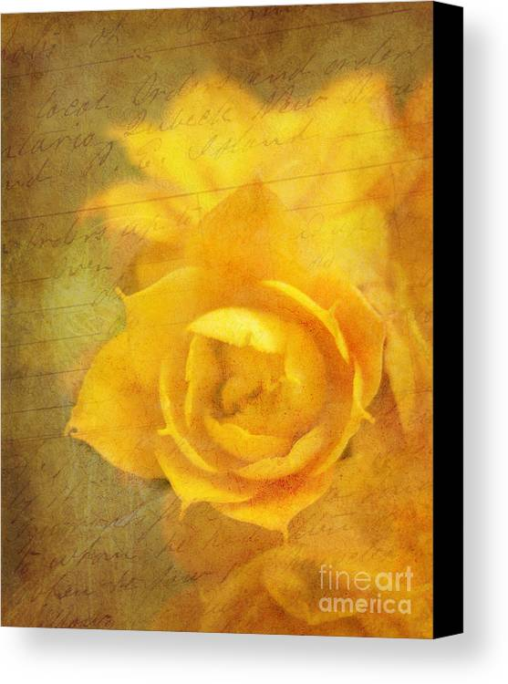 Yellow Canvas Print featuring the photograph Roses For Remembrance by Judi Bagwell