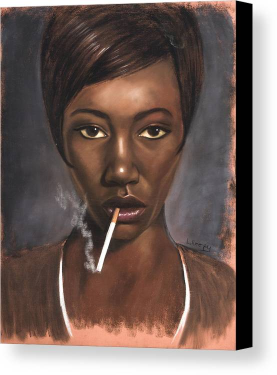 L Cooper Canvas Print featuring the pastel Sister With Cigarette by L Cooper