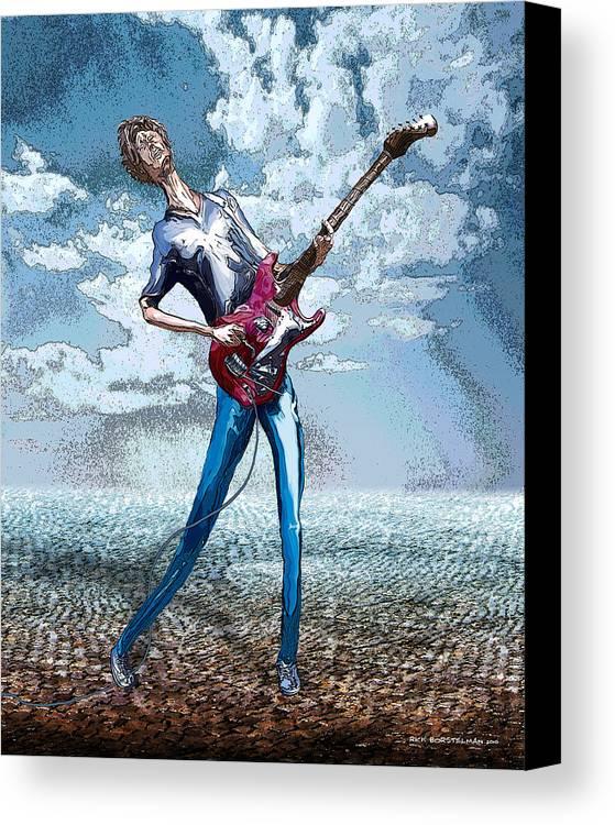Music Canvas Print featuring the digital art Skinny Guitar by Rick Borstelman