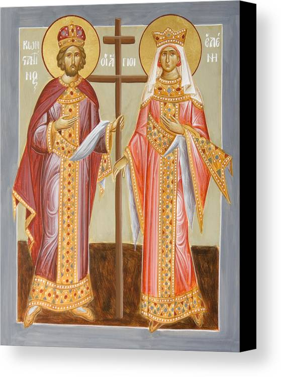 Sts Constantine And Helen Canvas Print featuring the painting Sts Constantine And Helen by Julia Bridget Hayes