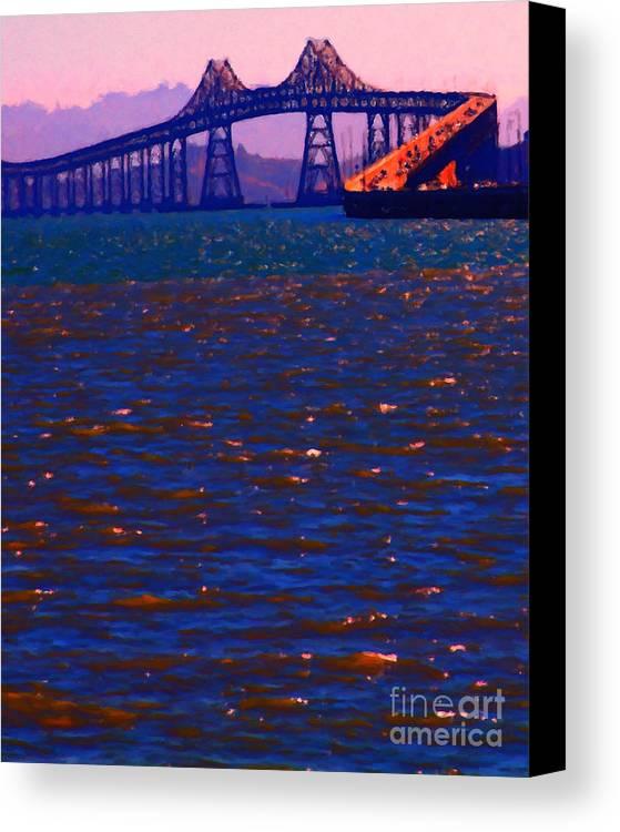San Francisco Canvas Print featuring the photograph Sun Setting Beyond The Richmond-san Rafael Bridge - California - 5d18435 by Wingsdomain Art and Photography