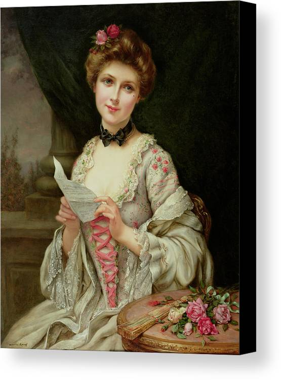 Billet Doux; Female; Seated; Sitting; Roses; Fan; Black Bow; Wistful; Pretty; Costume; Dress; Beauty; Jewellery; Jewelry; In Love; Valentine; Beauty Canvas Print featuring the painting The Love Letter by Francois Martin-Kayel
