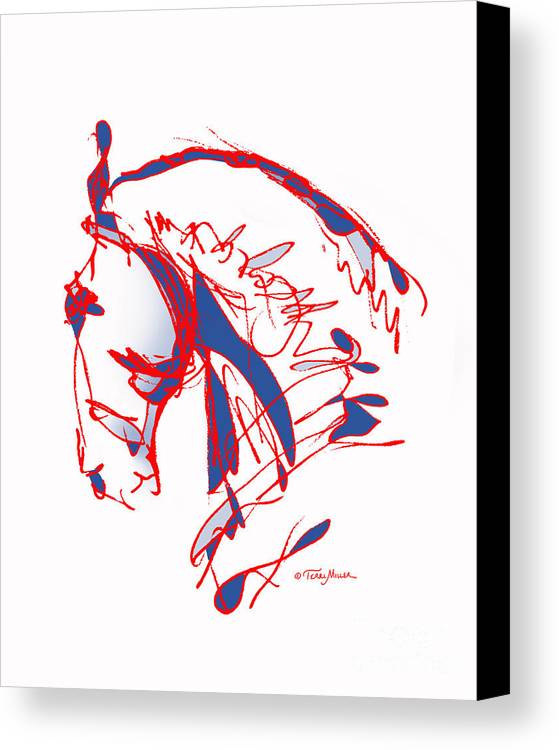 Horse Canvas Print featuring the drawing The Noble Nose - Red White Blue by Terri Miller