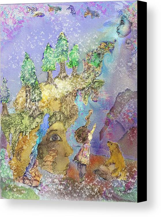 Dream Canvas Print featuring the painting The Snowy Forest Night by Cynthia Richards
