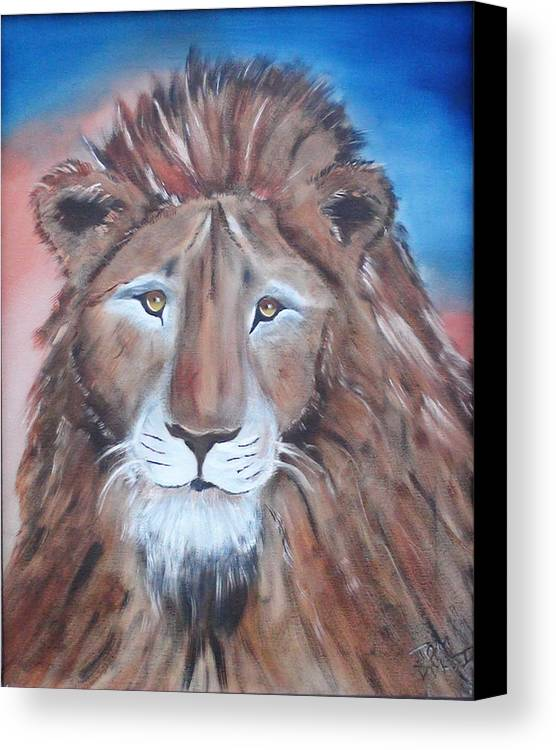 Lion Canvas Print featuring the painting Twilight's Lion by Thomas DOrsi