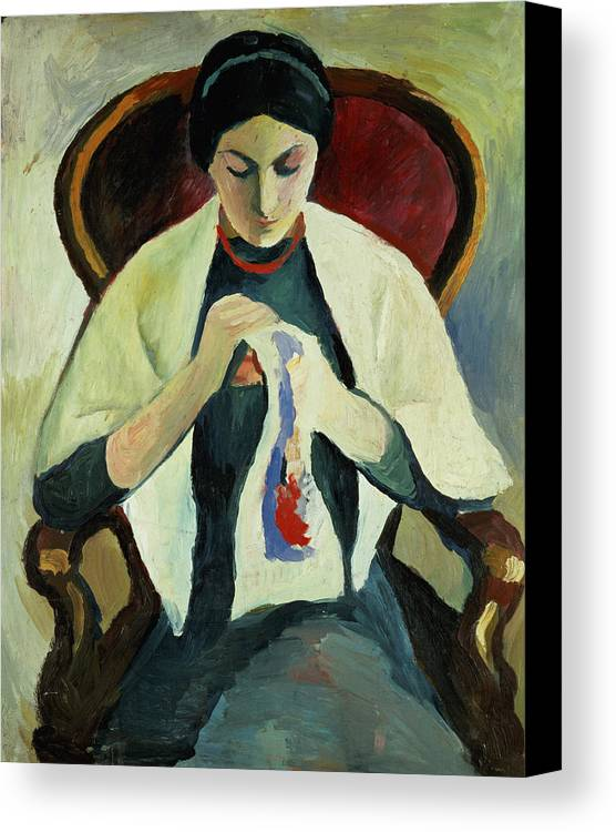 Woman Sewing By August Macke (1887-1914) Armchair; Portrait; Female Canvas Print featuring the painting Woman Sewing by August Macke