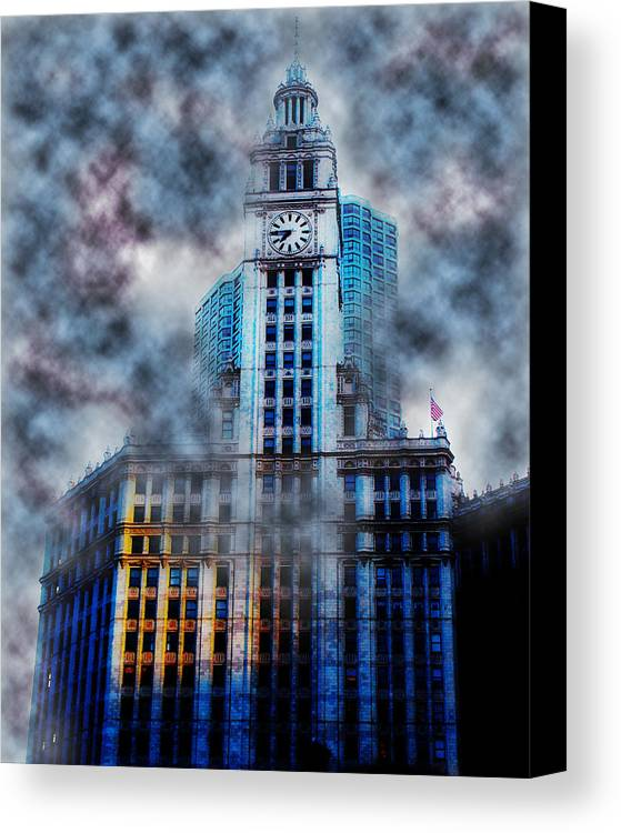 Chicago Canvas Print featuring the photograph Wrigley In Clouds by Simone Hester