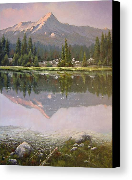 Landscape Canvas Print featuring the painting 060923-2430 Reflections At Days End  by Kenneth Shanika