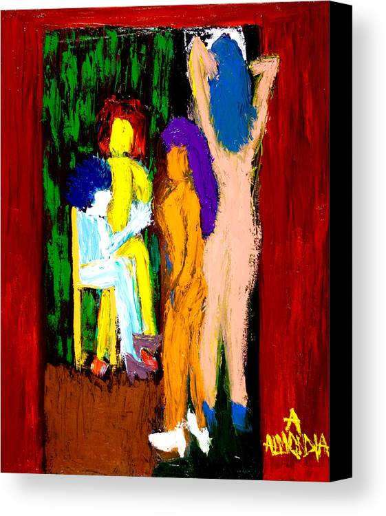 Women Canvas Print featuring the painting Backstage Drama by Albert Almondia