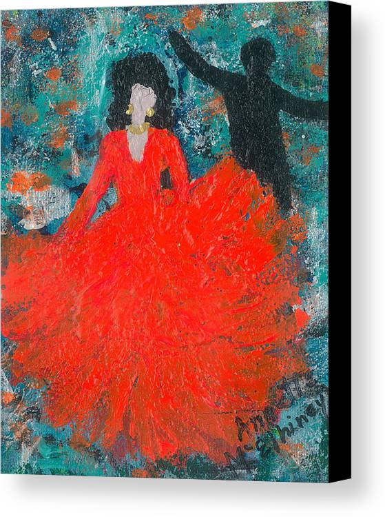 Women Canvas Print featuring the painting Dancing Joyfully With Or Without Ned by Annette McElhiney