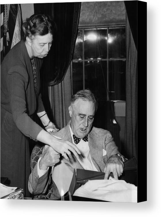 1940s Canvas Print featuring the photograph Fdr Presidency. First Lady Eleanor by Everett