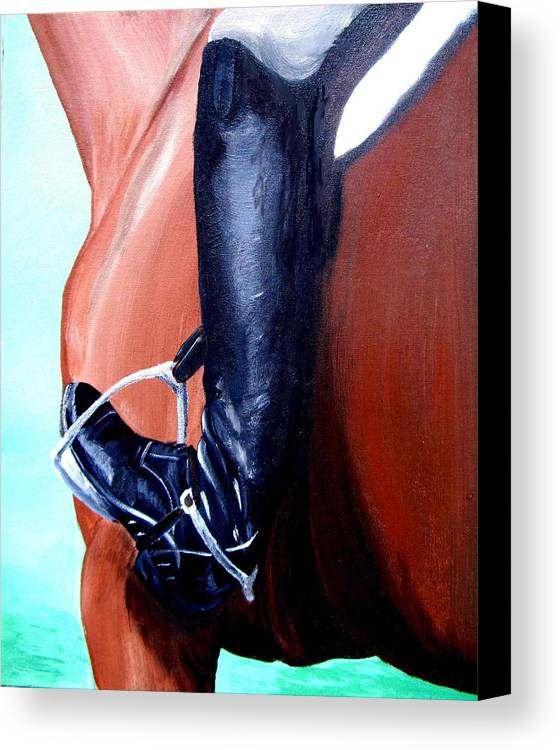 Horse Canvas Print featuring the painting Heels Down by Glenda Smith