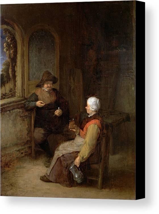 Adriaen Jansz Hendricx Canvas Print featuring the painting Interior Of A Cottage by Adriaen van Ostade