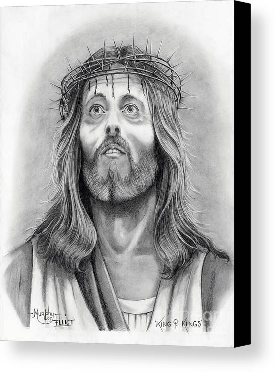 Jesus Christ Canvas Print featuring the drawing King Of Kings by Murphy Elliott