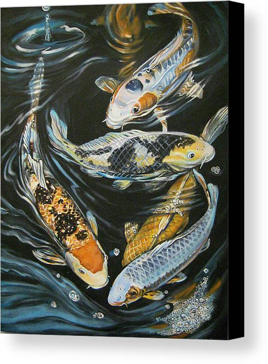Fish Canvas Print featuring the painting Koi Pond by Diann Baggett