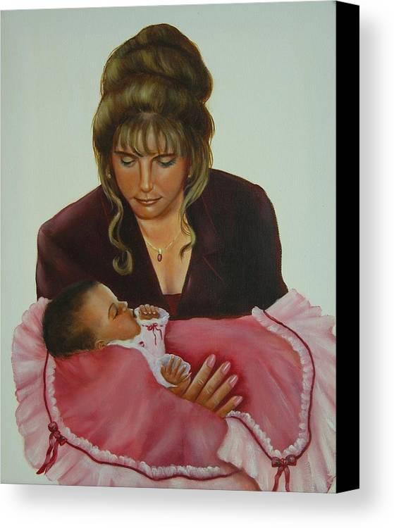 Portrait Canvas Print featuring the painting Mother And Child by Joni McPherson