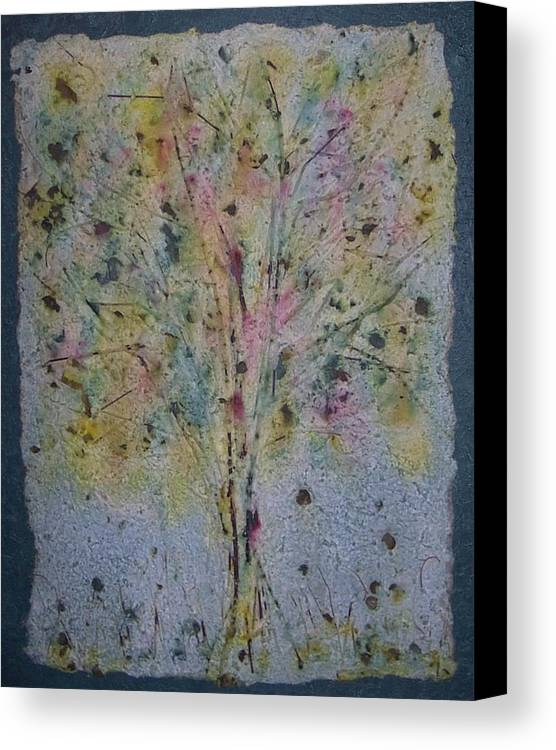 Canvas Print featuring the mixed media Paper Tree by Sally Van Driest