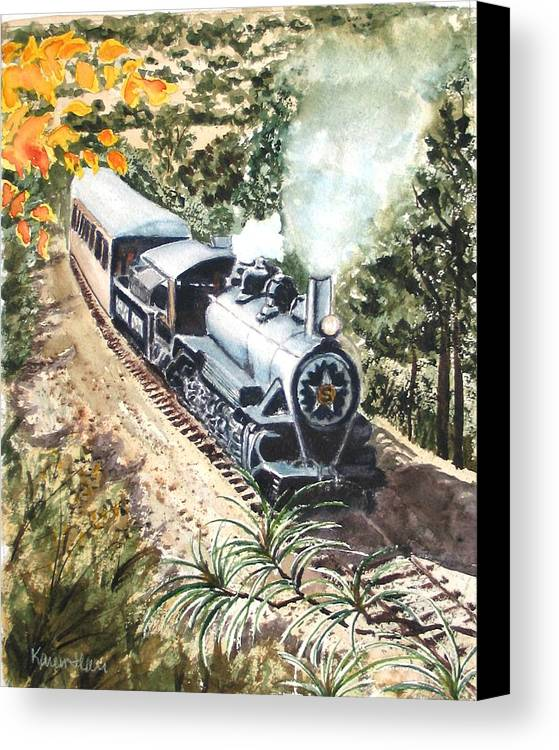 Trains Canvas Print featuring the painting Round The Bend by Karen Ilari