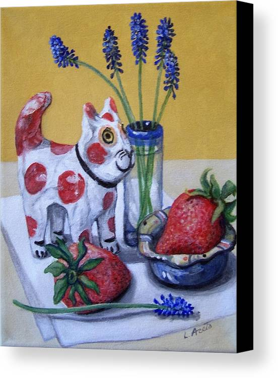 Still Life Canvas Print featuring the painting Spotted Cat With Strawberries by Laura Aceto