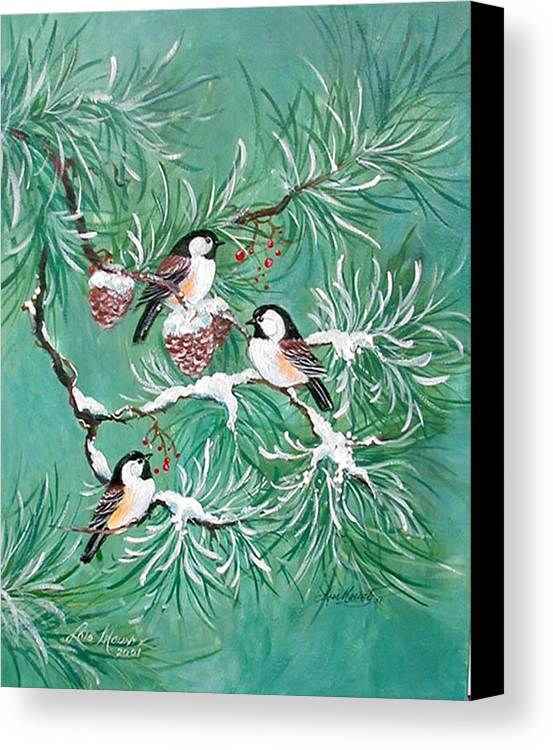 Birds;chickadees;pine;pine Cones;snow;winter; Canvas Print featuring the painting Three Little Chickadees In Pine by Lois Mountz