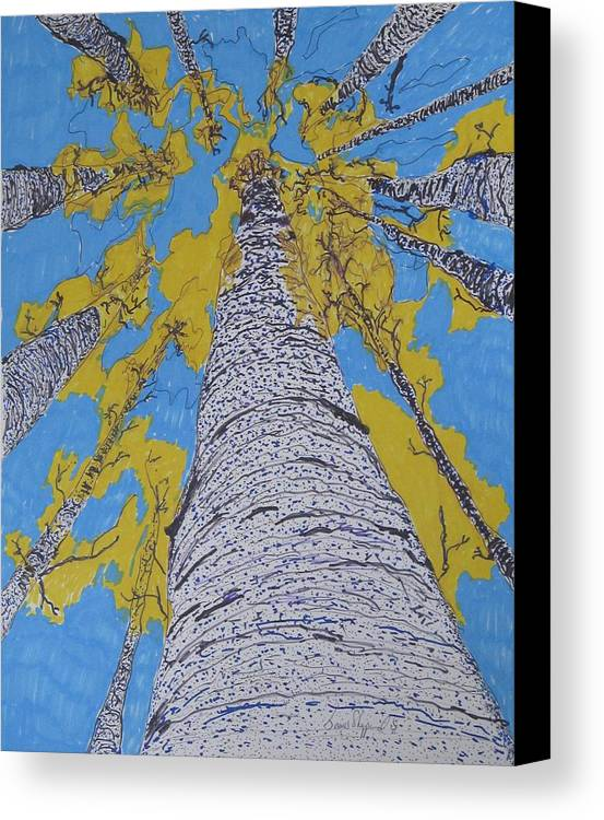 Abstract Birch Canvas Print featuring the mixed media Up At Birch by James SheppardIII