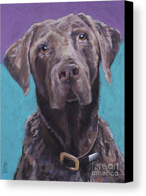Pet Portrait Commissions Canvas Print featuring the pastel 100 Lbs. Of Chocolate Love by Pat Saunders-White