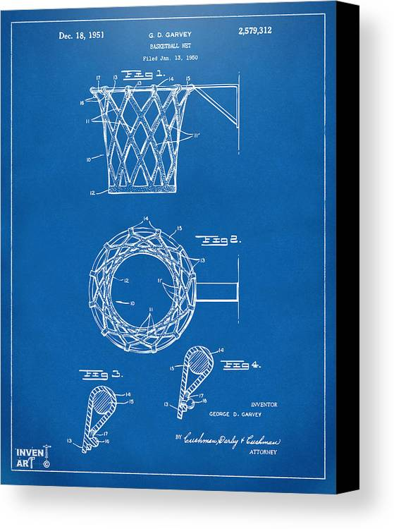 Basketball Canvas Print featuring the drawing 1951 Basketball Net Patent Artwork - Blueprint by Nikki Marie Smith
