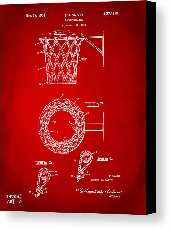 Basketball Canvas Print featuring the drawing 1951 Basketball Net Patent Artwork - Red by Nikki Marie Smith