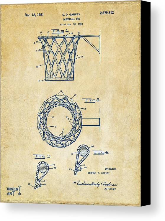 Basketball Canvas Print featuring the drawing 1951 Basketball Net Patent Artwork - Vintage by Nikki Marie Smith
