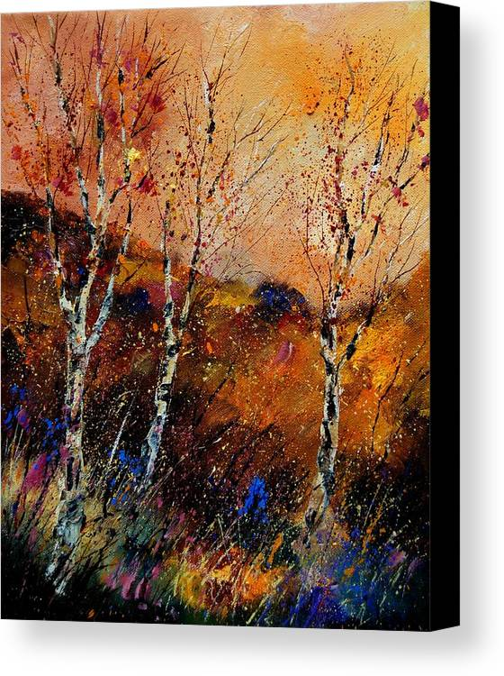 River Canvas Print featuring the painting 3 Poplars by Pol Ledent