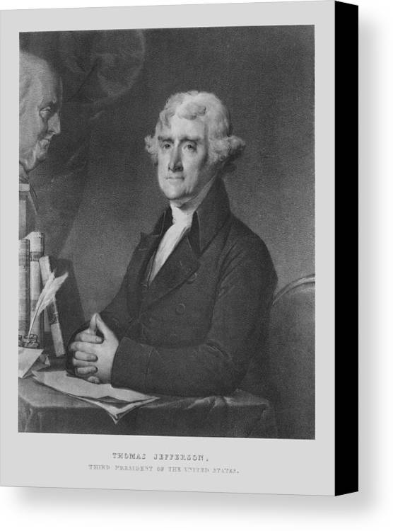 Us Presidents Canvas Print featuring the mixed media Thomas Jefferson by War Is Hell Store