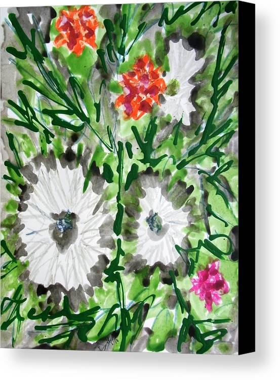 Abstract Paintings Green Yellow Canvas Print featuring the painting Divine Flowers by Baljit Chadha