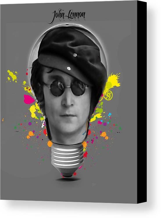 John Lennon Canvas Print featuring the mixed media John Lennon by Marvin Blaine