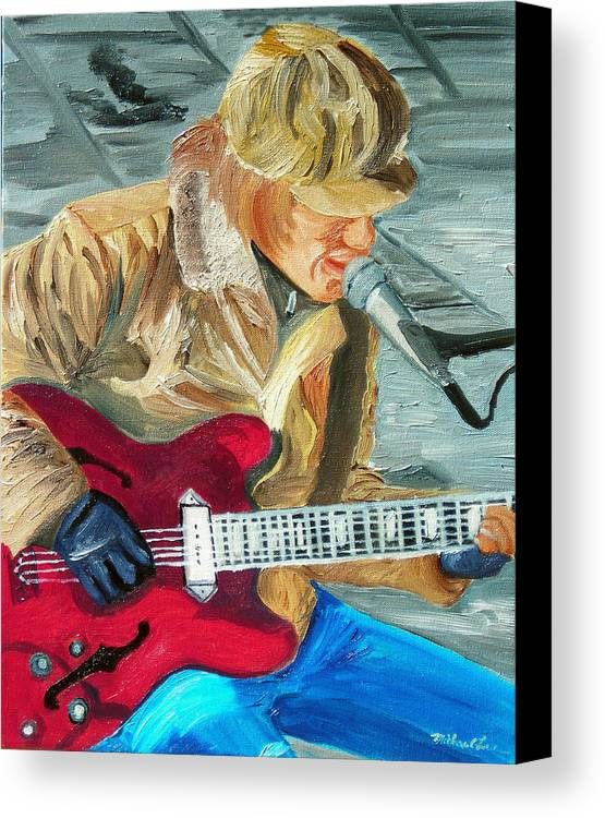 Street Musician Canvas Print featuring the painting A Cold Day To Play by Michael Lee