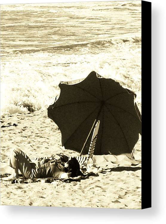 People Canvas Print featuring the digital art A Day At The Beach by Donna Thomas